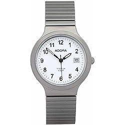 Herrenuhr Armbanduhr Quarzuhr Analoguhr Titanium mit Zugband und Datumsanzeige Adora 29104, Variante:01