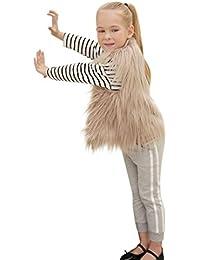 Longra Kinder Mädchen Modisch Kunstpelz Weste Fellweste Kunstfell Winterjacke Kinder Ärmellos Wintermantel Faux-Pelz Mantel Waistcoat Pelzweste Parka Outwear (3-8Jahre)