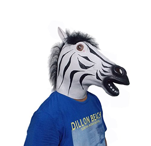 Zebra-Kopf-Schablonen Latex Pferd für Kostüm-Abendkleid -Party Halloween