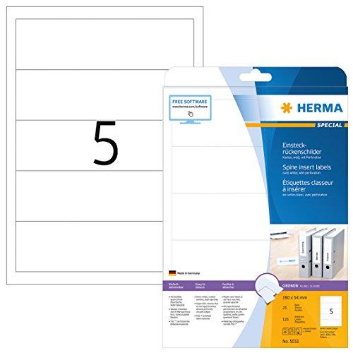 Herma 5032 Einsteckschilder Ordnerrücken Etiketten breit/kurz (54 x 190 mm) 125 Ordnerschilder, 25 Blatt DIN A4 Karton matt, weiß, bedruckbar, nicht klebend