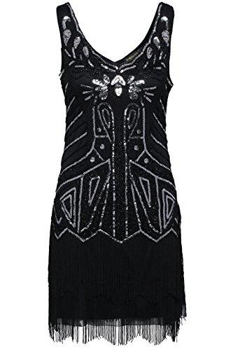 BABEYOND Damen Kleid Retro 1920er Stil Flapper Kleider mit zwei Schichten Troddel V Ausschnitt Great Gatsby Motto Party Kleider Damen Kostüm Kleid Schwarz