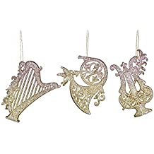 Set of Three Gold Glitter Musical Instrument Christmas Hanging Decorations