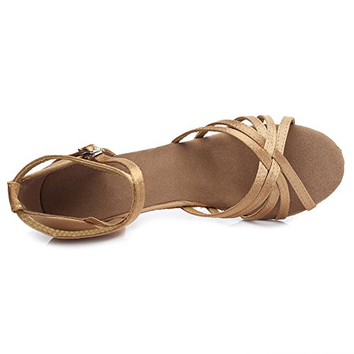 Hroyl Femmes I7-213 Satin Chaussures De Danse Latine 5cm Beige