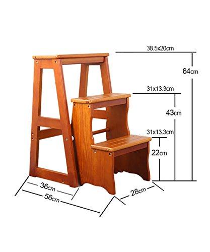 WUDENG Chaises à échelle multifonction Nordic Creative à quatre couches Chaise en bois massif pliable multicouches Escaliers Escalier Tabouret Tabouret (Couleur : A)