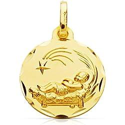 Medalla oro para bebe niño del pesebre en oro amarillo de 9 ktes. Grabado gratuito.