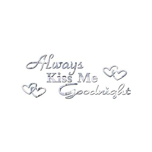 ahliwei Acryl Spiegel Wandaufkleber kiss Me Goodnight Home-möbel c