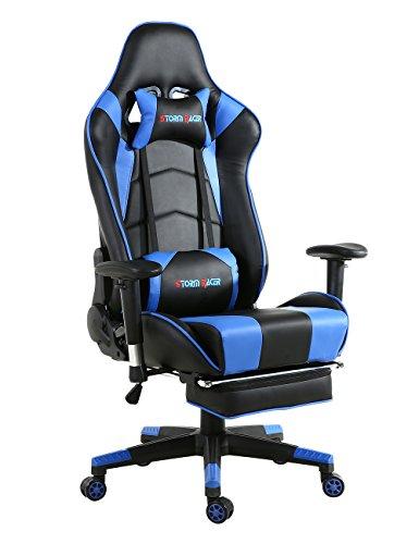 Storm Racer ergonómico Gaming Chair Silla de respaldo alto silla de oficina con reposapiés Ajuste reposacabezas y apoyo lumbar silla de Racing (Azul)