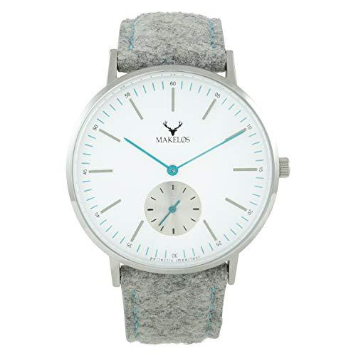 Makelos Analog Armbanduhr Quarz die Trenduhr in Silber - 40 mm Durchmesser...