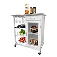 EASEASE Kitchen Storage Trolley Large Storage Capacity 4 Layers Removable Kitchen Storage Trolley Kitchen Dining Cart with Wine Storage drawers and Lockable Wheels