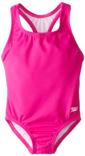 Speedo Little Mädchen learn-to-swim massiv Racerback Badeanzug, Mädchen, New Blush (Zwei Badeanzug Stück)