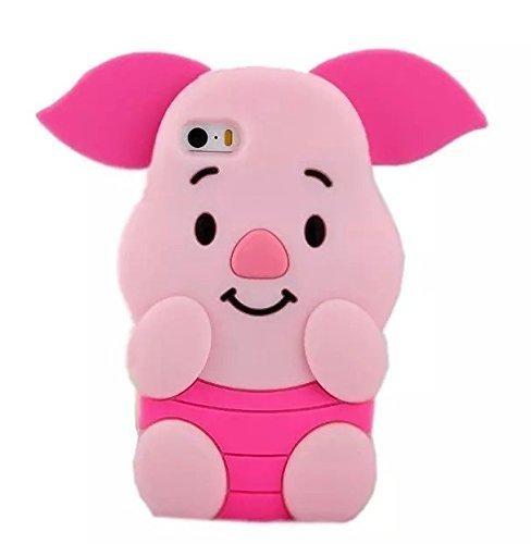 SevenPanda Piggy Hülle für iPhone 5 iPhone SE, Cartoon Silikon Niedlich Entzückende 3D Schön Ohren Können Ferkel Pig Pink Bewegen Funny Hülle Stoßfest Schützende Cover für iPhone SE 5 5S - Rosa