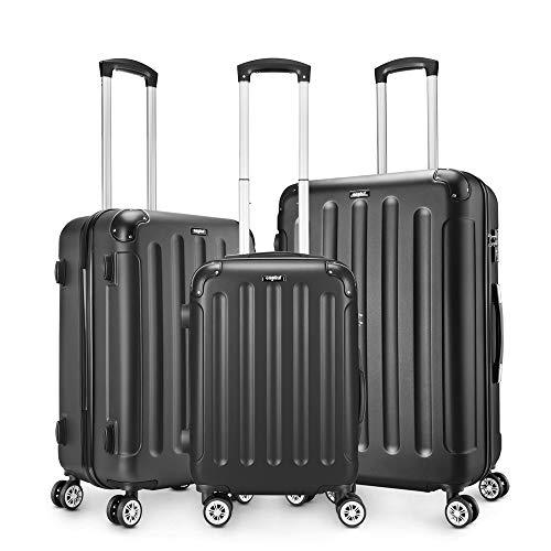 AMASAVA-Set of Maletas,Juego de Maletas Rígidas,Candado TSA,ABS,40L/55CM,65L/65CM.101L/75CM,4 Ruedas multidireccional,Negro