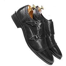 one8 Select by Virat Kohli Men's Black Leather Monk Strap Shoes