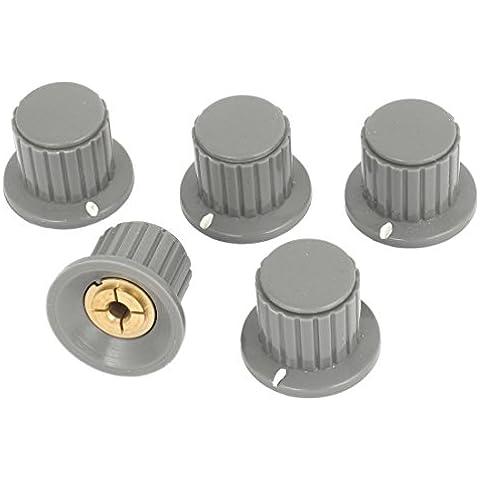 5pcs 4 mm Control de volumen de Split Diámetro del eje del potenciómetro mezclador Perillas Gray
