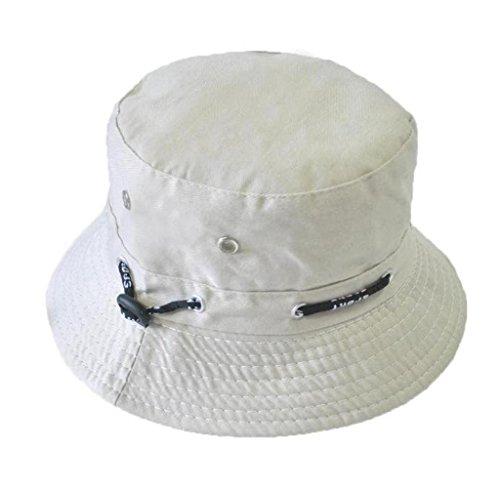 Amcool Männer Frauen Unisex Baumwolle Eimer Hut Double Side Anglerhut Visor Sun (Weiß)