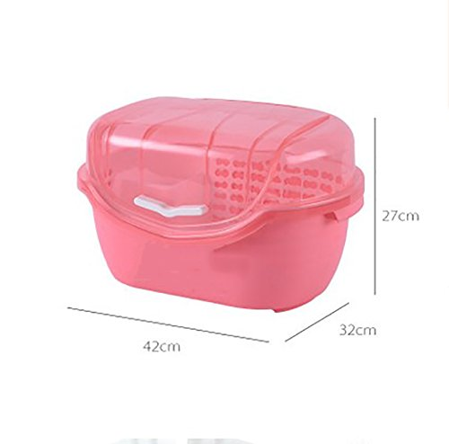 YANW-SHELF Küchenregal Kunststoff Staubdicht Ablassen Mit Deckel Geschirrkorb, Mode Lagerregal Für Familien Lager 10kg (Farbe : Pink)