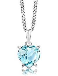 ByJoy Damen-Kette Mit Anhänger 925 Sterling- Silber Herzschliff Blau Topas 45cm