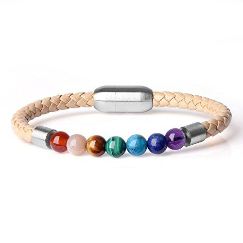 COAI® Geschenkideen Glücksarmband aus 7 Chakra und Lederarmband mit Magnetverschluss aus Edelstahl für Damen