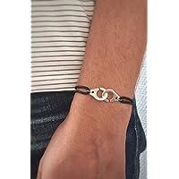 Bracelet menottes sur cordon coton