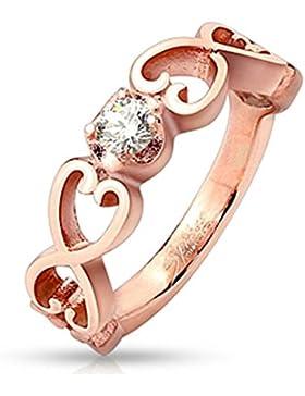 Paula & Fritz® Ring aus Edelstahl Chirurgenstahl 316L roségold 6mm breit aus sechs Vintage Herzen mit Zirkonia...
