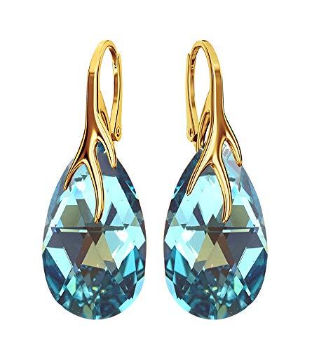 Crystals & Stones bap39* placcato oro * * turchese * Mandel-Bello Orecchini Argento 925orecchini pendenti da donna con cristalli di Swarovski Elements-Meraviglioso orecchini con scatola regalo