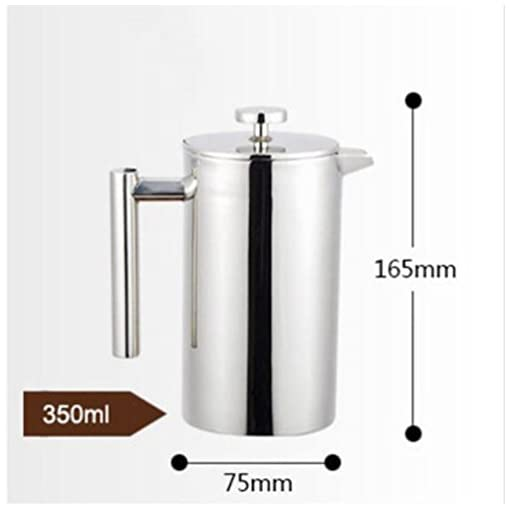 French Insulated Double Wall Stainless Steel Coffee Pot, Coffee Tea And Coffee Pot Giving A Filter Baskets (Size : 1000ml)