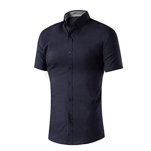 Honghu Casual Slim Fit Cuello de la Camisa Clásica Camisas Manga Corta para Hombre Large Negro