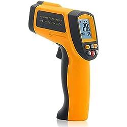 KCDE Thermometre Frontal Interieur Thermomètre D'ambiance, Thermomètres, Hygromètre, Pyromètre Cristaux Liquides Infrarouges sans Contact Sélection Numérique Température émissivité Pointeur