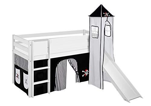Lilokids Spielbett JELLE mit Turm, Rutsche und Vorhang Kinderbett, Holz, weiß, 208 x 98 x 113 cm (Kinderbett Mit Tasche)