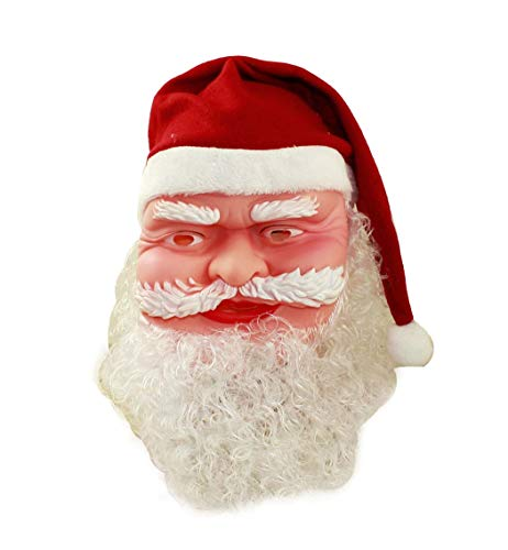 HAAC Maske Weihnachtsmann mit Weihnachtsmütze und Bart für Nikolaus Weihnacht ()