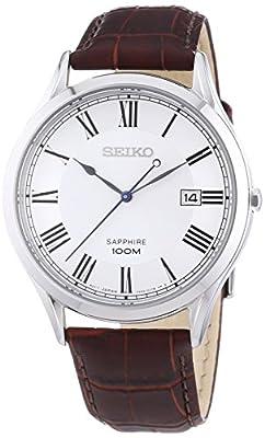 SEIKO Classic - Reloj de cuarzo para hombre, con correa de cuero, color marrón