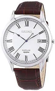 Seiko - SGEG97P1 - Montre Homme - Quartz Analogique - Cadran Blanc - Bracelet Cuir Rouge