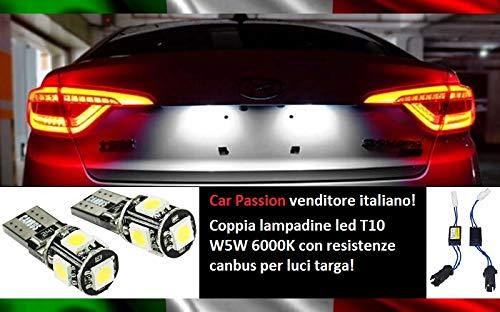 Coppia Luci Targa Led CANBUS T10 W5W 6000K 5 Led Lampadine Con Resistenza Spegni Spia NO ERRORE