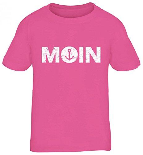 Geschenkidee Küsten Hamburg Plattdeutsch Norddeutsch Norden Kids Kinder T-Shirt Moin Anker, Größe: 110/116,Pink
