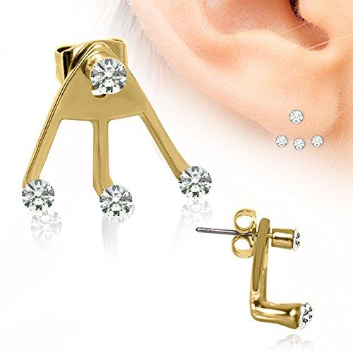4 Klar Vergolden Trident Triple-LIEBE Ohrringe 0.6mm Dicke Chirurgenstahl (Kostüme Trident)