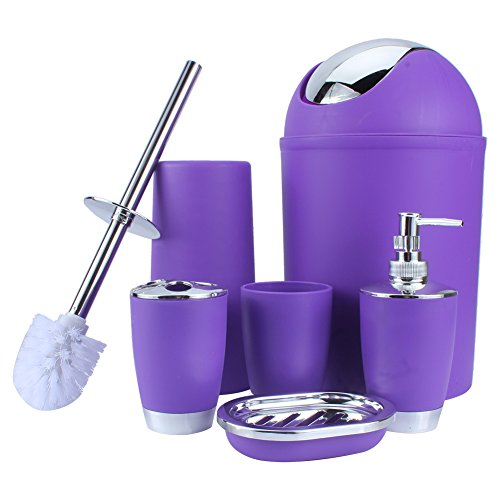 GOTOTOP 6 TLG Badset Bad Accessoires Badezimmer Set Seifenspender Halter Badgarnitur (Lila)