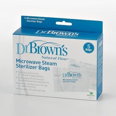 Dr. Brown' s Flusso Naturale Bustine. Microonde Sterilizzatore A Vapore Sacchetti-Idea Regalo - Browns Microonde Sterilizzatore