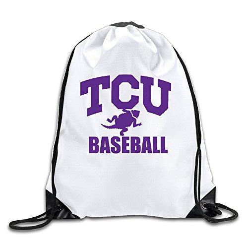 Unisex TCU Baseball Team College Baseball Sports Kordelzug Rucksack Tasche Cool, Herren, weiß
