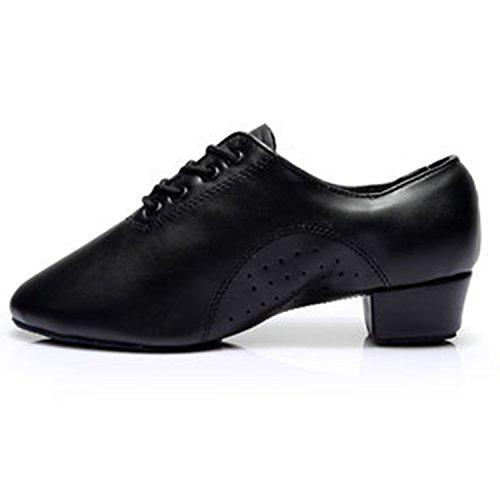 Oasap Men's Breathable Leather Lace-up Latin Dance Shoes Black