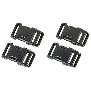 AceCamp Duraflex Insert Buckle in 20 mm, 25 mm, 38 mm, 50 mm, Black, Plastic, Click Fastening, Clip Fastening, Replacement Buckle - 4 Stück (Doppelpack) - 20 mm