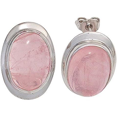 Par de tuerca con piedras preciosas Cuarzo rosa oval 925 plata papeles de señoras