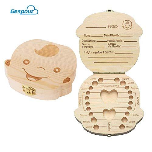 Gespout Scatoletta Porta Dentini Realizzata Mano Legno Durevole per Conservare e ricordare con affetto i dentini da Latte del Tuo Bambino 12.5 * 11.5