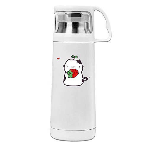 Handson Edelstahl Vakuum Isoliert Tumbler Cute Cat und Strawberry Thermo Thermos Cup Weiß 14oz/350 ml Nissan Travel Mug