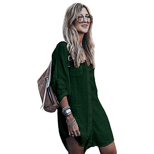 Damen Sommerkleid Boho Bikini Cover Up Strandkleid Bademode Mittlere Länge Kaftan Bluse (Olive, L (EU 40-46)) (Olive Farbe, Kleider)