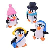 STRUM 4pcs Miniature Penguin with Winter Clothing Bonsai Ornaments Micro Landscape Home Decoration