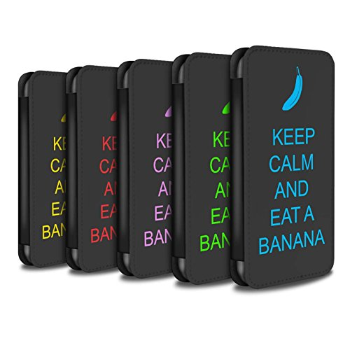 Stuff4 Coque/Etui/Housse Cuir PU Case/Cover pour Apple iPhone 5/5S / Continuer/Bordeaux Design / Reste Calme Collection Pack 25pcs