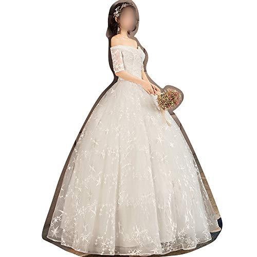 ZSRHH-Kleid Frauenkleid Weiß A-Linie Stil Abendkleid 2019 New Lace Brautkleider (Size : L)