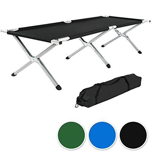 TecTake XL Feldbett Campingbett belastbar bis 150 kg mit Transporttasche -diverse Farben- (Schwarz)