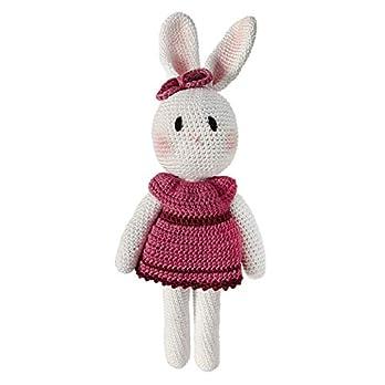 LOOP BABY – Gehäkelte Hasen-Puppe – Häkelhase rosa Ballerina aus 100 % Bio-Baumwolle – waschbar – Häkelpuppe Hase