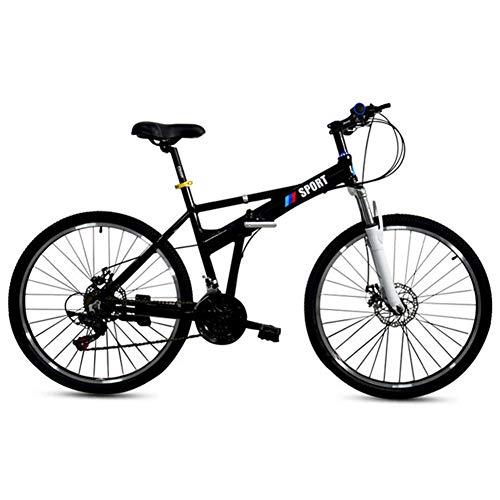 Aluminium-Faltrad, Unisex Faltrad Folding City Bike Leicht Faltrad, Das Mountainbike-Last Bearing 150Kg, 26 Zoll,Schwarz